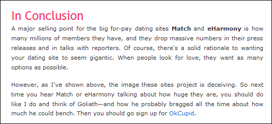 Never pay for online dating